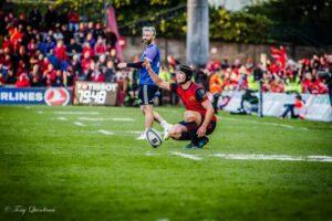 Tyler Bleyendaal lines up a kick