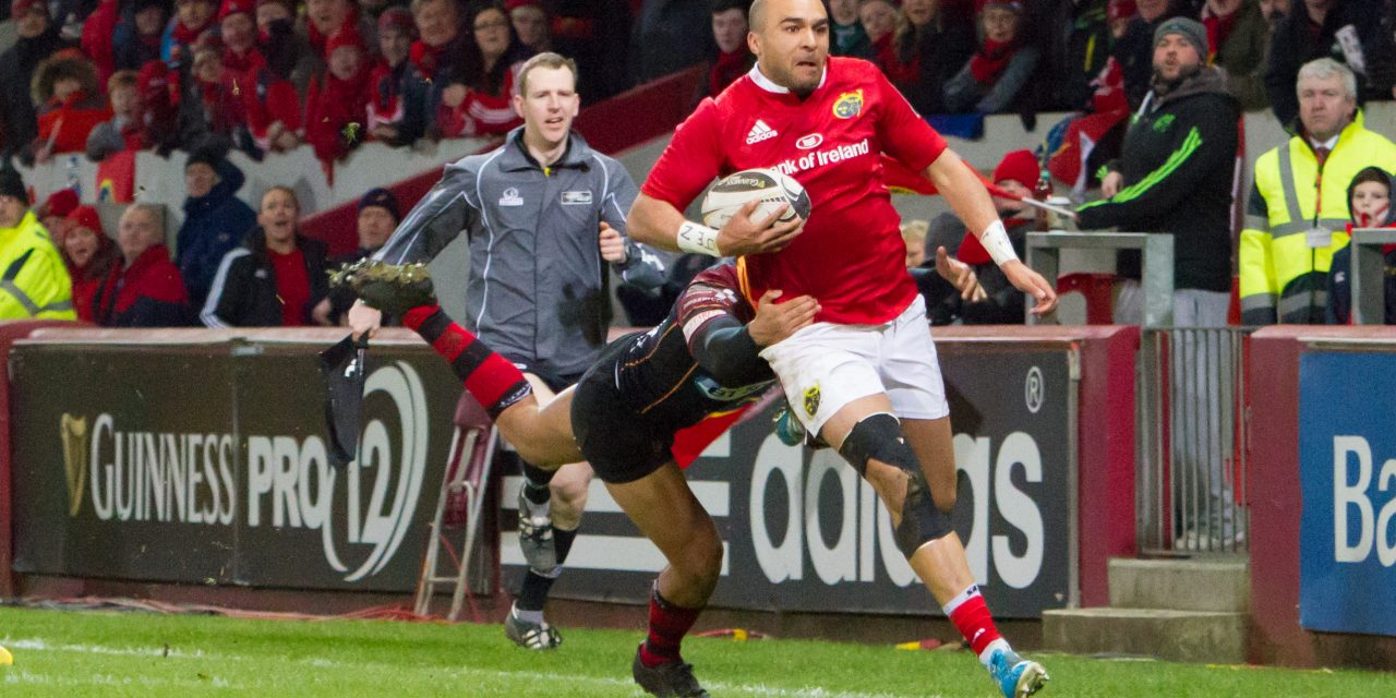 Racing 92 confirmed as destination for Munster's departing Simon Zebo just days out from European clash