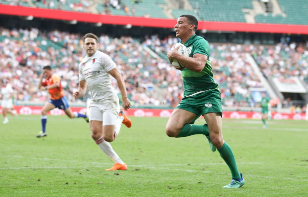 HSBC London Sevens, Bronze Cup Final, Twickenham, London, England 3/6/2018 Ireland 7s vs England 7s Ireland's Jordan Conroy runs in a try setting up the winning conversion Mandatory Credit ©INPHO/Andrew Fosker