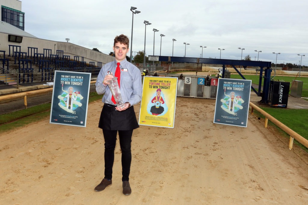 Paul Maher with the Barking Buzz 20 Euro Bet at Limerick greyhound Stadium Picture Brendan gleeson