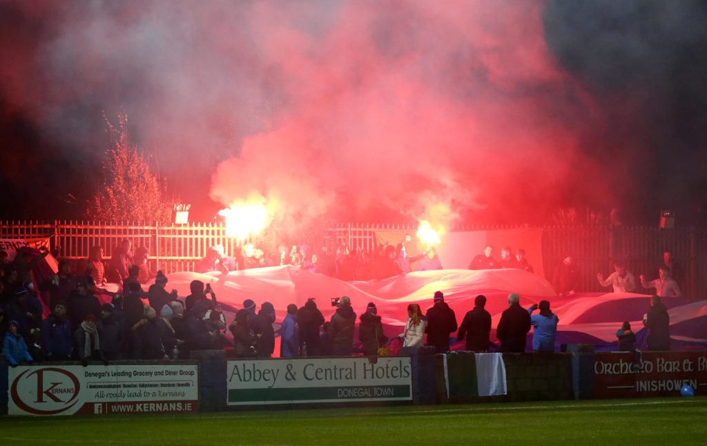 SSE Airtricity League First Division Promotion/Relegation Play-off Series Final First Leg, Finn Park, Co. Donegal 29/10/2018 Finn Harps vs Limerick Limerick fans Mandatory Credit ©INPHO/Lorcan Doherty