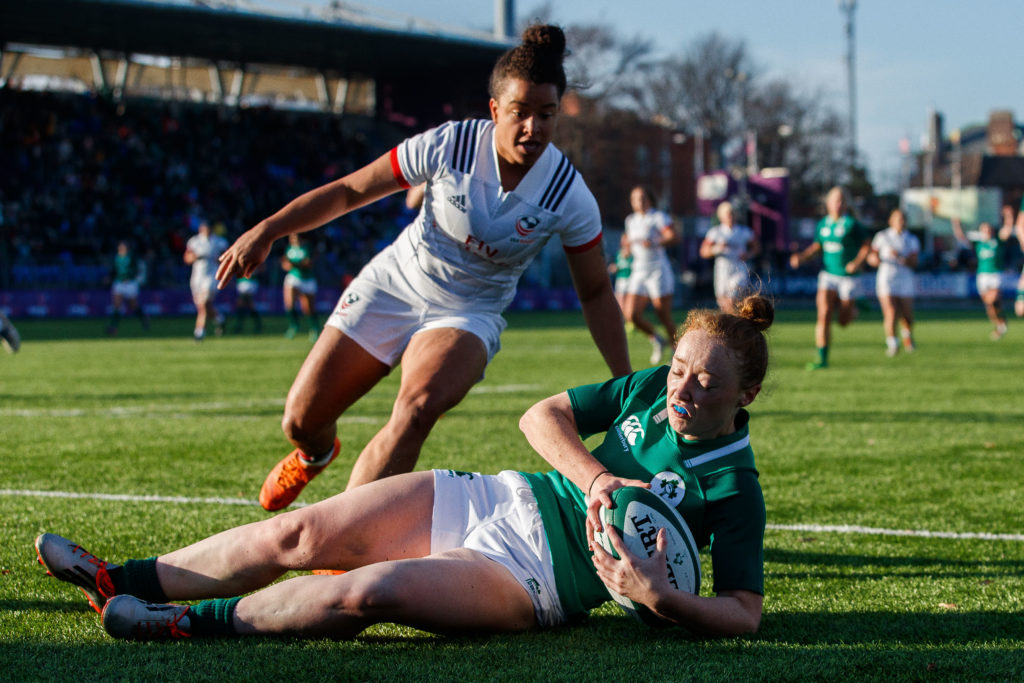 Women's International, Energia Park, Donnybrook, Dublin 18/11/2018 Ireland Women vs USA Women Ireland's Laura Sheehan scores a try Mandatory Credit ©INPHO/Tommy Dickson