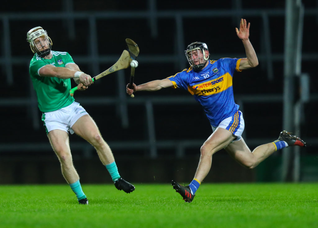 Munster Senior Hurling League Round 1, Gaelic Grounds, Limerick 14/12/2018 Limerick vs Tipperary Limerick's Cian Lynch with Colin English of Tipperary Mandatory Credit ©INPHO/Oisin Keniry