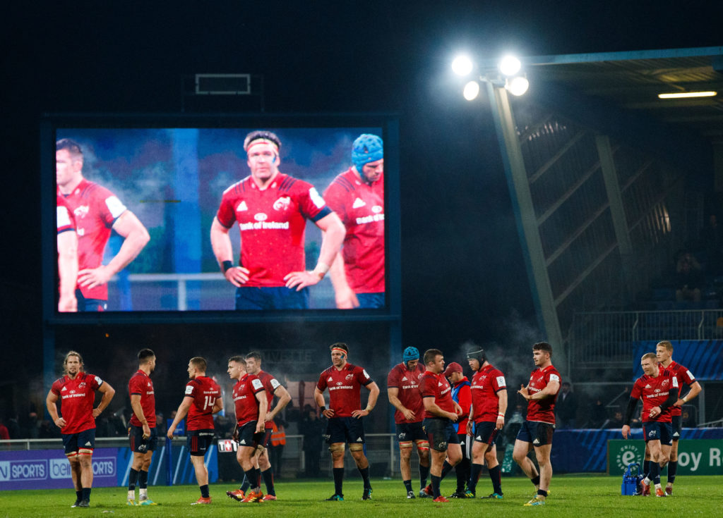Heineken Champions Cup Round 4, Stade Pierres Fabre, Castres, France 15/12/2018 Castres Olympique vs Munster Munster players look on before Andrew Conway's try was disallowed  Mandatory Credit ©INPHO/James Crombie