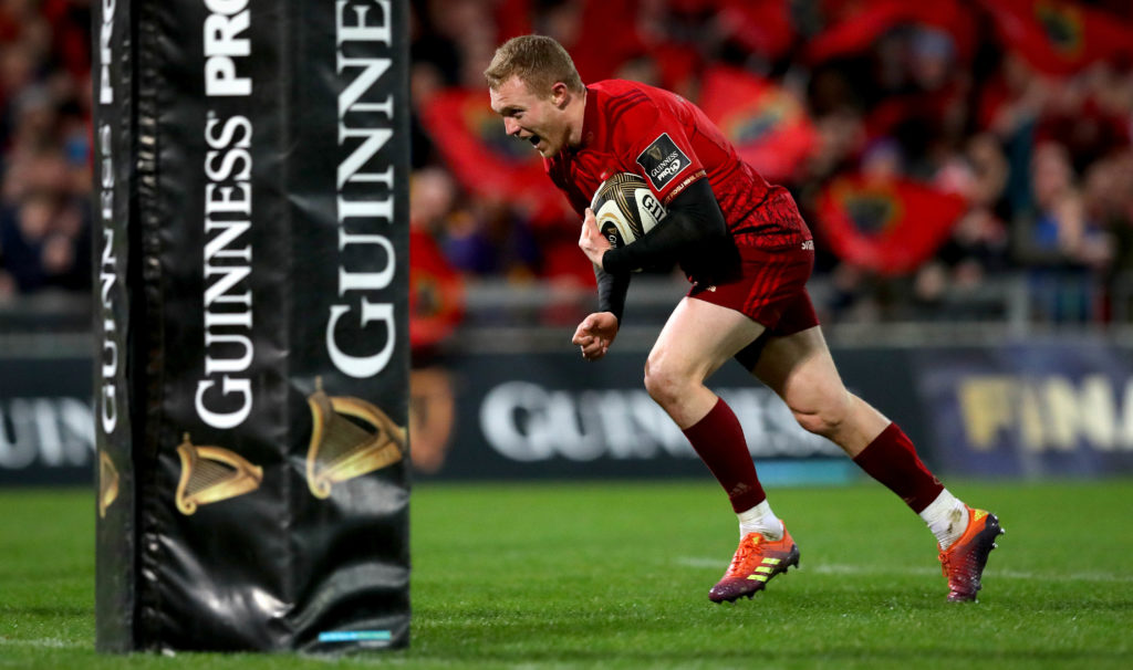 Guinness PRO14, Thomond Park, Limerick 29/12/2018 Munster vs Leinster Munster's Keith Earls scores their second try of the game  Mandatory Credit ©INPHO/Ryan Byrne