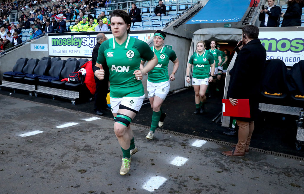 Women's Six Nations Championship Round 5, Ricoh Arena, Coventry, England 16/3/2018 England Women vs Ireland Women Ireland's Ciara Griffin leads out her team   Mandatory Credit ©INPHO/Ryan Byrne