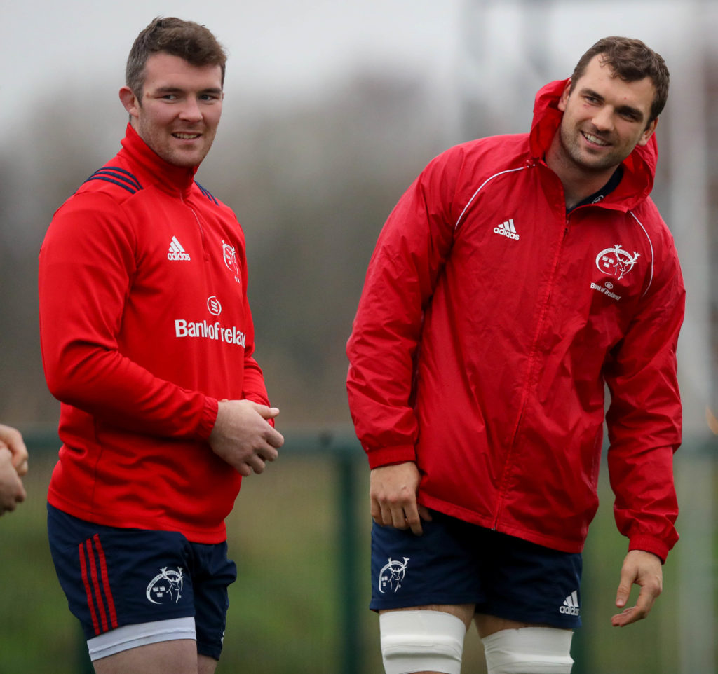 Munster Rugby Squad Training, UL, Limerick 7/12/2019 Peter O'Mahony and Tadhg Beirne  Mandatory Credit ©INPHO/Ryan Byrne