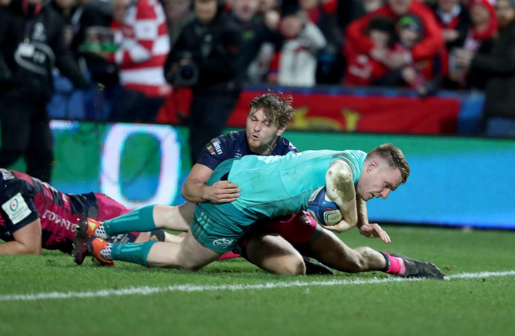 Heineken Champions Cup Round 5, Kingsholm Stadium, England 11/1/2019 Gloucester vs Munster Munster's Rory Scannell scores their second try Mandatory Credit ©INPHO/Dan Sheridan