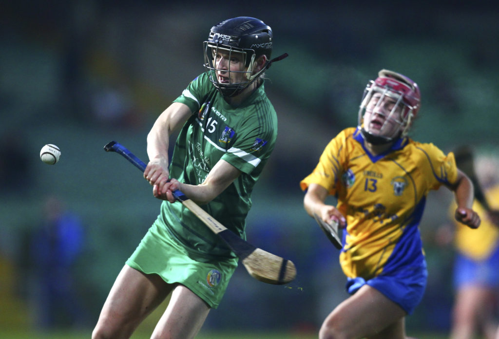 REPRO FREE***PRESS RELEASE NO REPRODUCTION FEE*** EDITORIAL USE ONLY  Littlewoods Ireland Camogie League Division 1 Round 3, Gaelic Grounds, Limerick 2/2/2019 Limerick vs Clare Limerick's Niamh Mulcahy shoots on goal Mandatory Credit ©INPHO/Ken Sutton