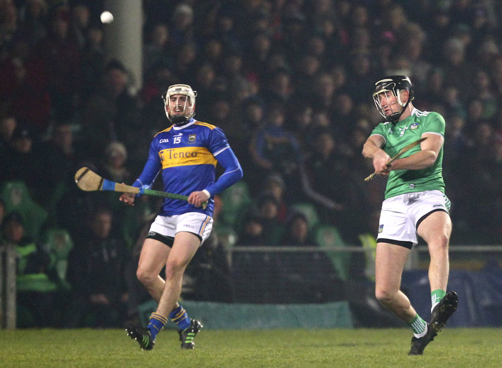 Allianz Hurling League Division 1A, Gaelic Grounds, Limerick 2/2/2019 Limerick vs Tipperary Limerick's Diarmaid Byrnes shoots on goal Mandatory Credit ©INPHO/Ken Sutton