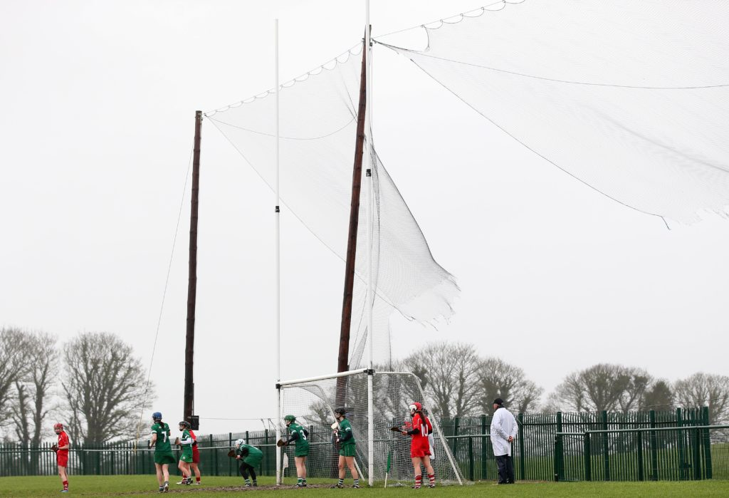 REPRO FREE***PRESS RELEASE NO REPRODUCTION FEE***  Irish Daily Star National League Round 1 Group 2, Mick Neville Park, Rathkeale, Co. Limerick 21/2/2016 Limerick vs Cork Limerick defend a free in windy conditions  Mandatory Credit ©INPHO/Ryan Byrne