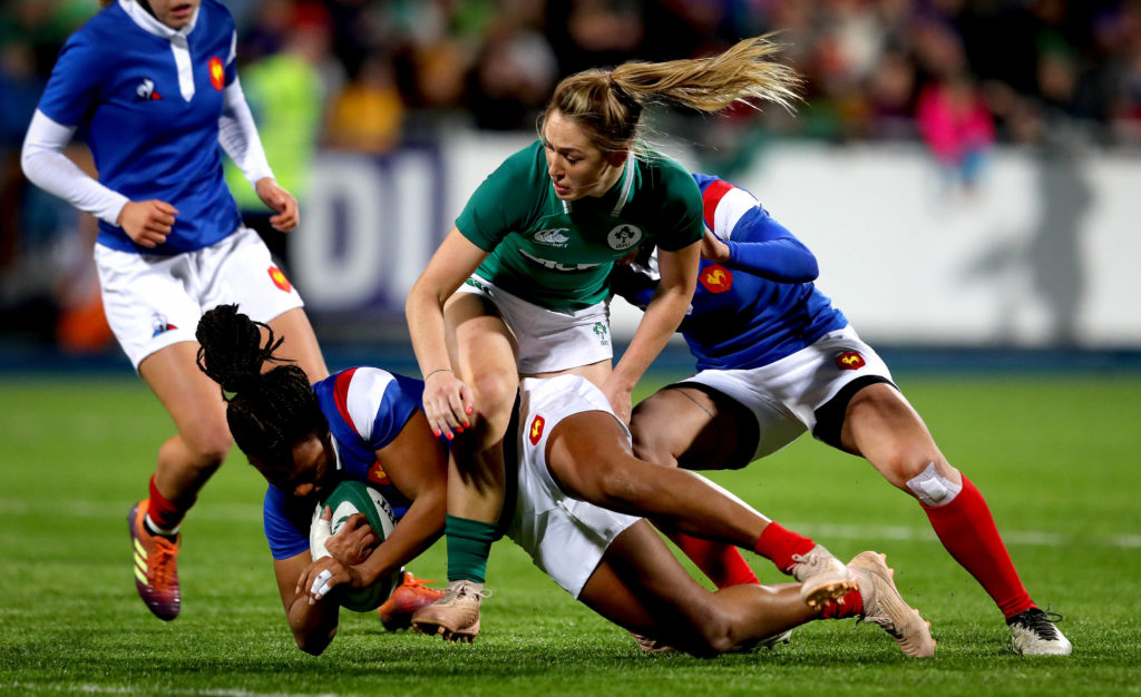 Women's Six Nations Championship Round 4, Energia Park, Donnybrook, Dublin 9/3/2019 Ireland Women vs France Women Ireland's Eimear Considine and Lan Jason of France Mandatory Credit ©INPHO/Ryan Byrne