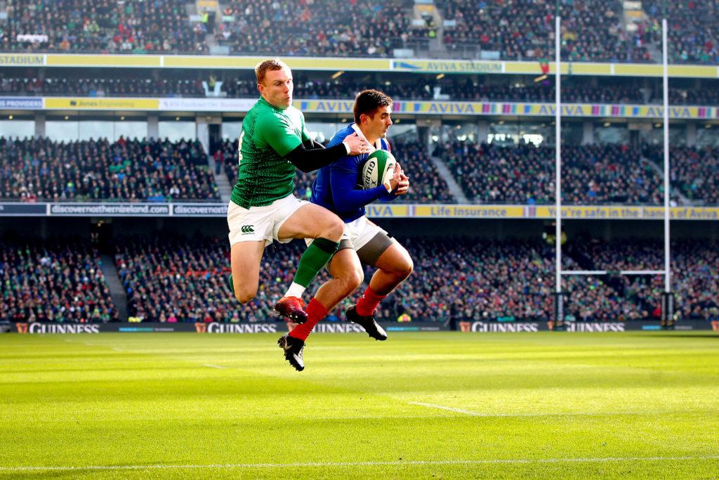 2019 Guinness Six Nations Championship Round 4, Aviva Stadium, Dublin 10/3/2019 Ireland vs France Ireland's Keith Earls and Thomas Ramos of France Mandatory Credit ©INPHO/Ryan Byrne