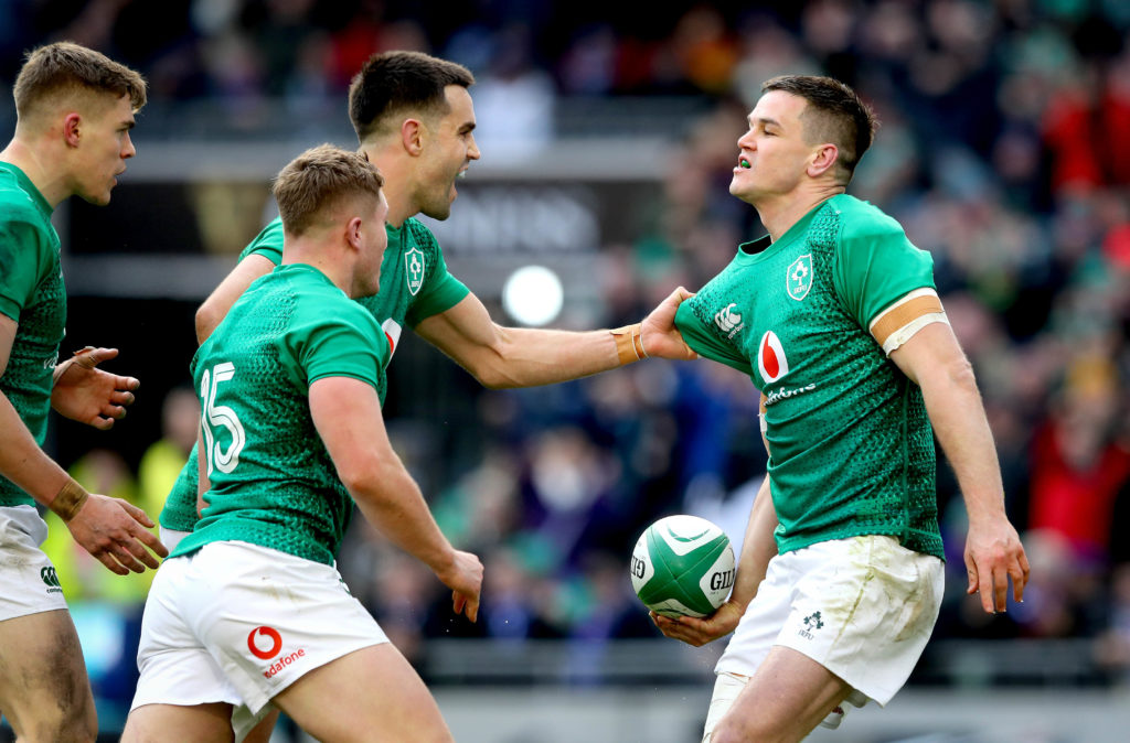 2019 Guinness Six Nations Championship Round 4, Aviva Stadium, Dublin 10/3/2019 Ireland vs France Ireland's Jonathan Sexton celebrates scoring their second try of the game with Jordan Larmour, Garry Ringrose and Conor Murray Mandatory Credit ©INPHO/Ryan Byrne