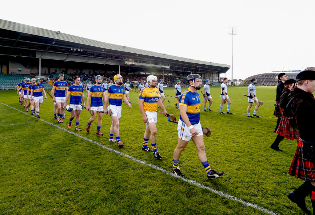 Limerick Senior Hurling Championship Final, Gaelic Grounds, Limerick 11/10/2015 Na Piarsaigh vs Patrickswell The two teams parade before the match Mandatory Credit ©INPHO/Keith Wiseman