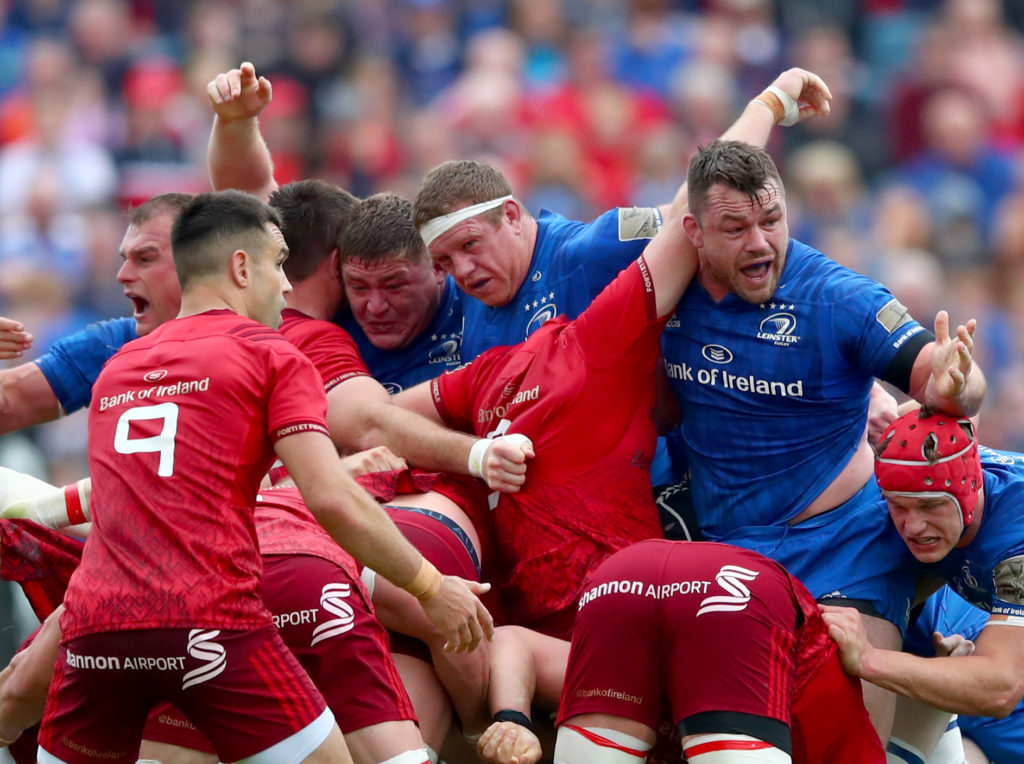 Guinness PRO14 Semi-Final, RDS, Dublin 18/5/2019 Leinster vs Munster Leinster's Tadhg Furlong, Sean Cronin and Cian Healy Mandatory Credit ©INPHO/James Crombie