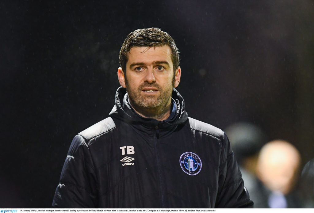 19 January 2019; Limerick manager Tommy Barrett during a pre-season friendly match between Finn Harps and Limerick at the AUL Complex in Clonshaugh, Dublin. Photo by Stephen McCarthy/Sportsfile