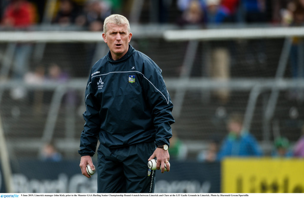 9 June 2019; Limerick manager John Kiely prior to the Munster GAA Hurling Senior Championship Round 4 match between Limerick and Clare at the LIT Gaelic Grounds in Limerick. Photo by Diarmuid Greene/Sportsfile