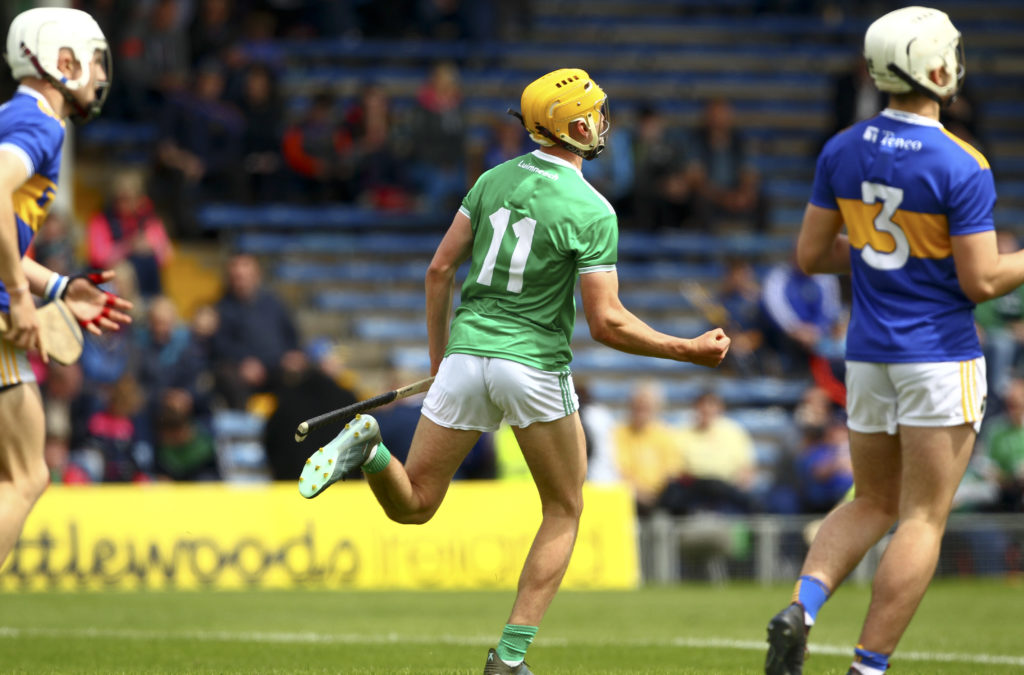 Electric Ireland Munster Minor Hurling Championship Round 5, Semple Stadium, Co. Tipperary 16/6/2019 Tipperary vs Limerick Limerick's Cathal O'Neill celebrates his goal Mandatory Credit ©INPHO/Ken Sutton