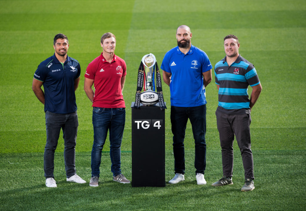REPRO FREE**PRESS RELEASE NO REPRODUCTION FEE** EDITORIAL USE ONLY TG4 Launch Rugbaí Beo Coverage Of The Upcoming Guinness PRO14 Season, Aviva Stadium, Dublin 18/9/2019 Pictured ahead of TG4's Rugbaí Beo coverage of the upcoming Guinness Pro14 season 2019/2020 is from (L-R) Jarrad Butler (Connacht), Tyler Bleyendaal (Munster), Scott Fardy (Leinster) and Rob Herring (Ulster) Mandatory Credit ©INPHO/Billy Stickland