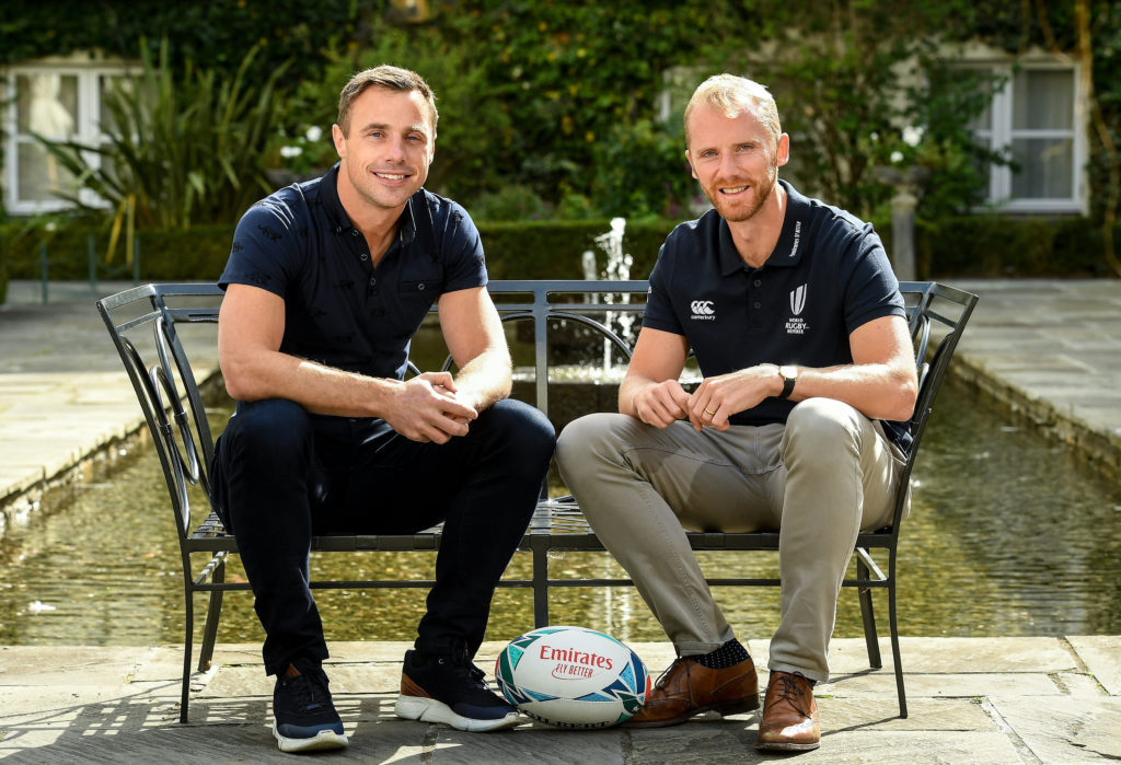 """6 September 2019: Rugby World Cup season kicked off today at a preview of Rugby World Cup 2019™ with Emirates and Wayne Barnes. One of the best-known officials in the game, Barnes took part in a Q&A with former Irish international, Tommy Bowe, to highlight Emirates' association with rugby.  Emirates first sponsored Rugby World Cup (RWC) 2007 in France, then became a Worldwide Partner for RWC 2011, 2015, and now the tournament in Japan 2019™. Rugby has been a part of Emirates' portfolio for more than 20 years, since the company became the Title Sponsor of the Emirates Airline Dubai Rugby Sevens, part of the HSBC Sevens World Series. Emirates is also proud to sponsor the Cape Town Sevens, the first event of the 2019/2020 Series. Enda Corneille, Country Manager for Emirates in Ireland, commented: """"Rugby World Cup is one of the most iconic sporting events with a huge following in Ireland and Emirates is proud of its long-standing association with the game. At every international rugby match, World Rugby's™ elite panel of referees take to the field in their Emirates Fly Better kit. """"Emirates bring people and cultures together, just as rugby brings people together through a shared passion for sport. We connect Ireland to more than 150 destinations, including Japan for Rugby World Cup 2019™."""" Ireland will kick off its first match against Scotland on Sunday 22 September. Former Ireland International Tommy Bowe with Referee Wayne Barnes in attendance during the Emirates Rugby World Cup Preview at Merrion Hotel in Dublin. Photo by Matt Browne/Sportsfile *** NO REPRODUCTION FEE ***"""