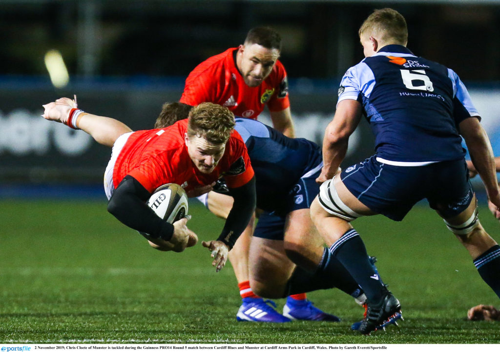 2 November 2019; Chris Cloete of Munster is tackled during the Guinness PRO14 Round 5 match between Cardiff Blues and Munster at Cardiff Arms Park in Cardiff, Wales. Photo by Gareth Everett/Sportsfile