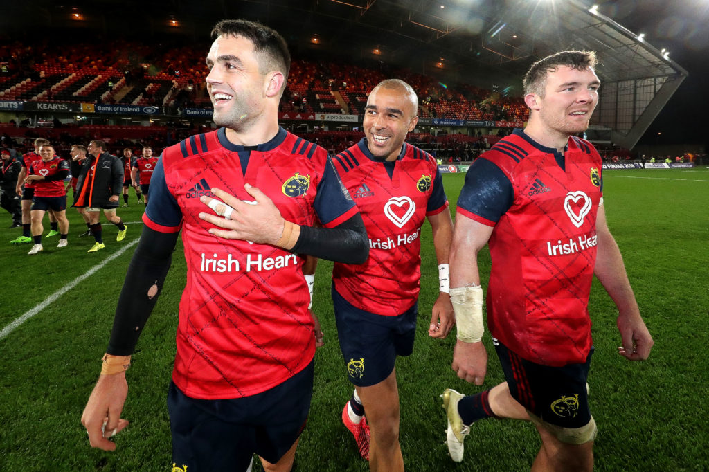 European Rugby Champions Cup Round 2, Thomond Park, Limerick 21/10/2017 Munster vs Racing 92  Munster's Conor Murray, Simon Zebo and Peter O'Mahony celebrate after the game Mandatory Credit ©INPHO/Billy Stickland