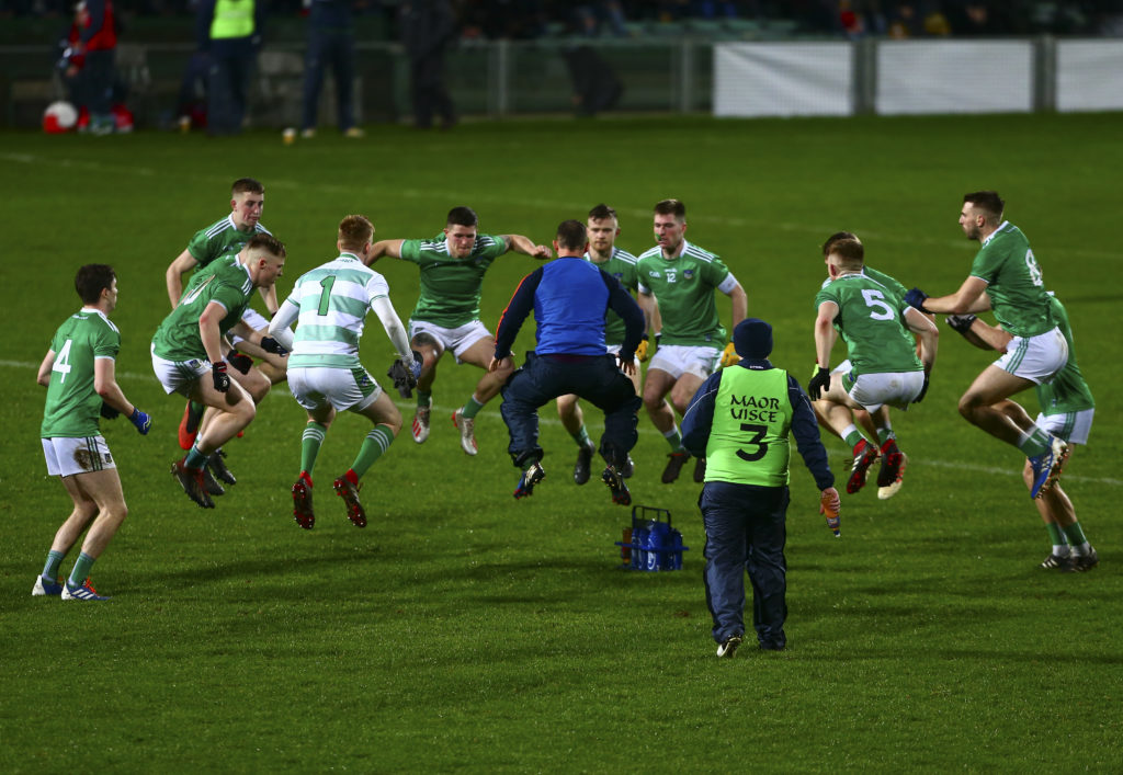 McGrath Cup Final, LIT Gaelic Grounds,  Co. Limerick 11/1/2020  Cork vs Limerick Limerick players prepare for the second half Mandatory Credit ©INPHO/Ken Sutton