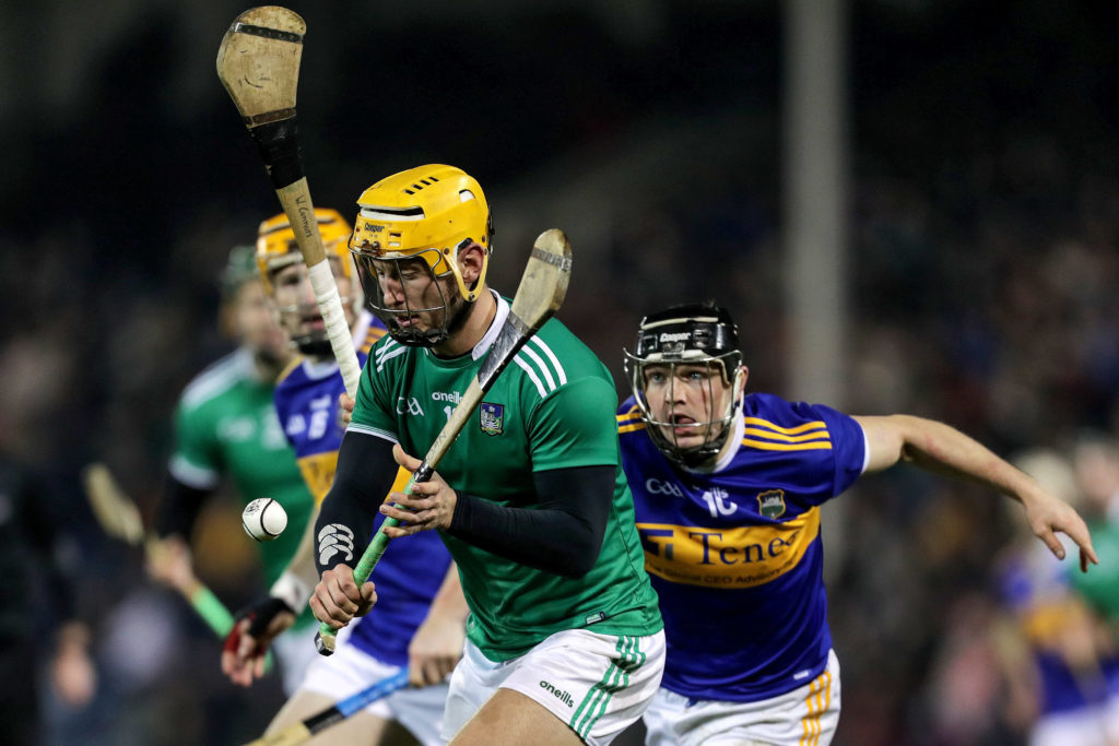 Allianz Hurling League Division 1A, Semple Stadium, Thurles, Co. Tipperary 25/1/2020 Tipperary vs Limerick Limerick's Tom Morrissey and Willie Connors of Tipperary Mandatory Credit ©INPHO/Laszlo Geczo