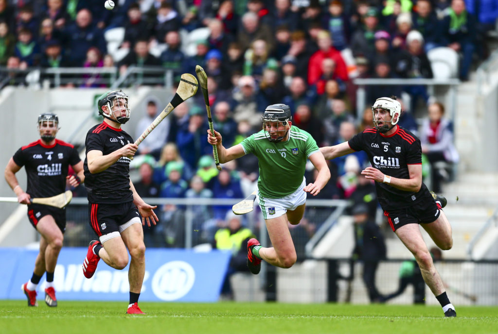 Allianz Hurling League Division 1A, Pairc Ui Chaoimh, Cork, Co. Cork 23/2/2020 Cork vs Limerick Limerick's Gearoid Hegarty passes under pressure from Cork's Tim O'Mahony and Mark Coleman  Mandatory Credit ©INPHO/Ken Sutton