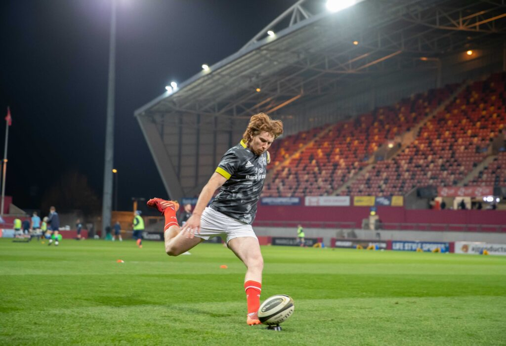 Ben Healy warms up ahead of Munster's Monday Night Rugby game against the Cardiff Blues in Thomond Park in the Guinness Pro 14