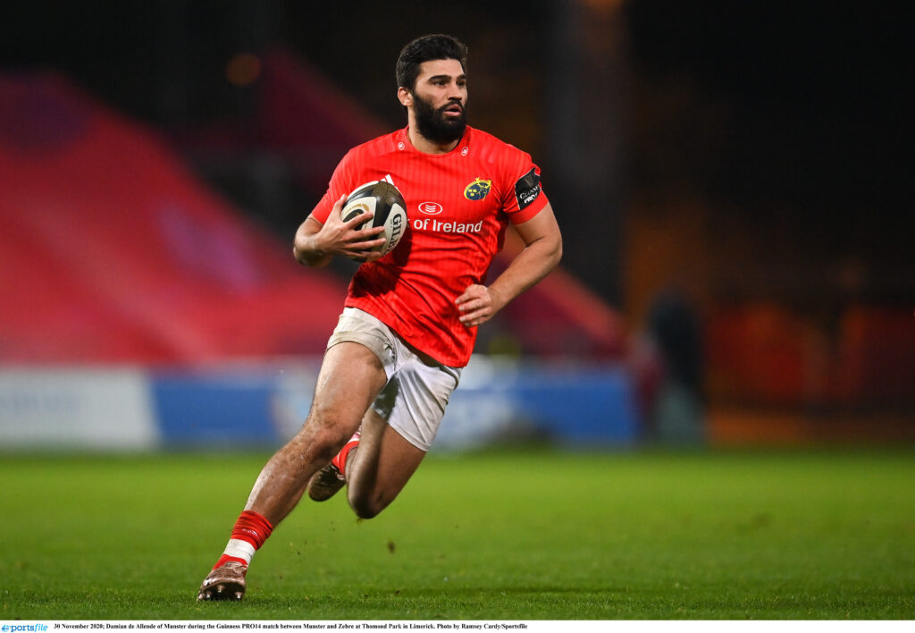 30 November 2020; Damian de Allende of Munster during the Guinness PRO14 match between Munster and Zebre at Thomond Park in Limerick. Photo by Ramsey Cardy/Sportsfile