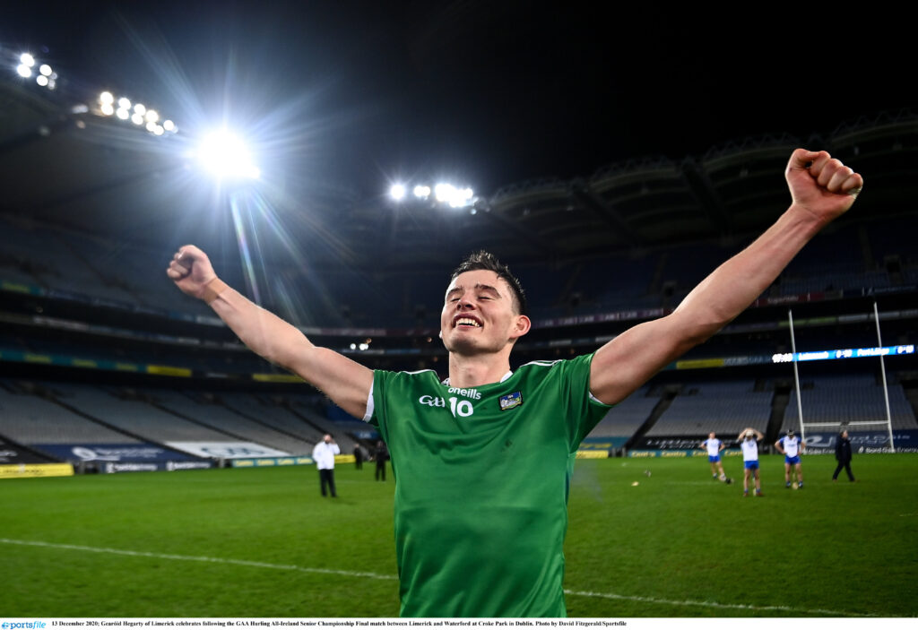 13 December 2020; Gearóid Hegarty of Limerick celebrates following the GAA Hurling All-Ireland Senior Championship Final match between Limerick and Waterford at Croke Park in Dublin. Photo by David Fitzgerald/Sportsfile