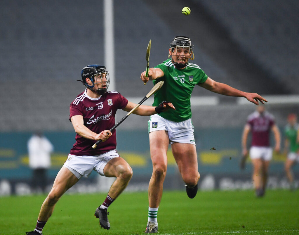 29 November 2020; Gearóid Hegarty of Limerick in action against Seán Loftus of Galway during the GAA Hurling All-Ireland Senior Championship Semi-Final match between Limerick and Galway at Croke Park in Dublin. Photo by Ray McManus/Sportsfile