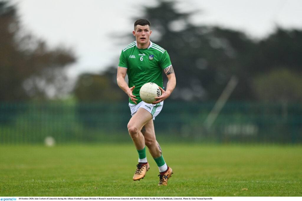 18 October 2020; Iain Corbett of Limerick during the Allianz Football League Division 4 Round 6 match between Limerick and Wexford at Mick Neville Park in Rathkeale, Limerick. Photo by Eóin Noonan/Sportsfile