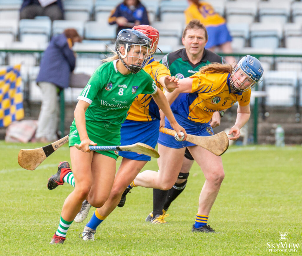 Aisling Cunningham makes a break in the National Camogie League Division 3 meeting between Limerick and Clare.