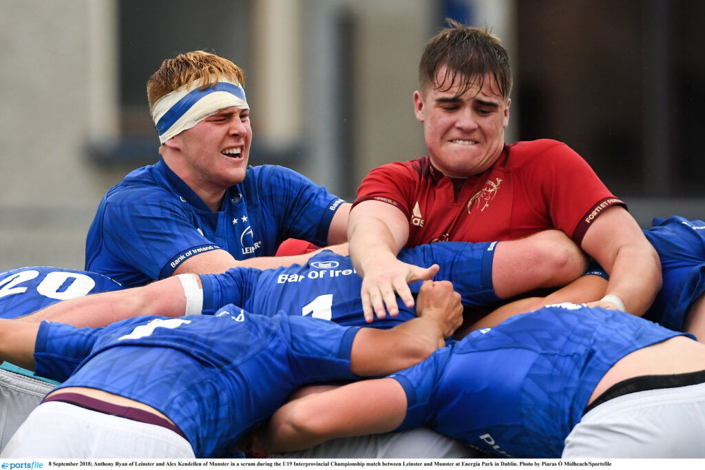 8 September 2018; Anthony Ryan of Leinster and Alex Kendellen of Munster in a scrum during the U19 Interprovincial Championship match between Leinster and Munster at Energia Park in Dublin. Photo by Piaras Ó Mídheach/Sportsfile