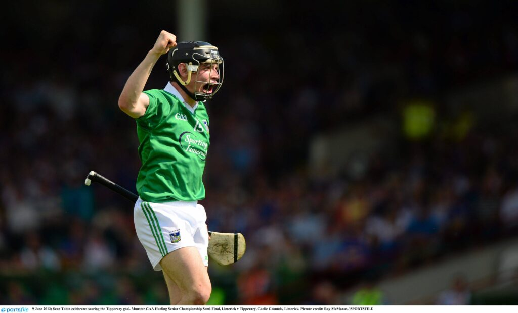 9 June 2013; Sean Tobin celebrates scoring the Limerick goal. Munster GAA Hurling Senior Championship Semi-Final, Limerick v Tipperary, Gaelic Grounds, Limerick. Picture credit: Ray McManus / SPORTSFILE