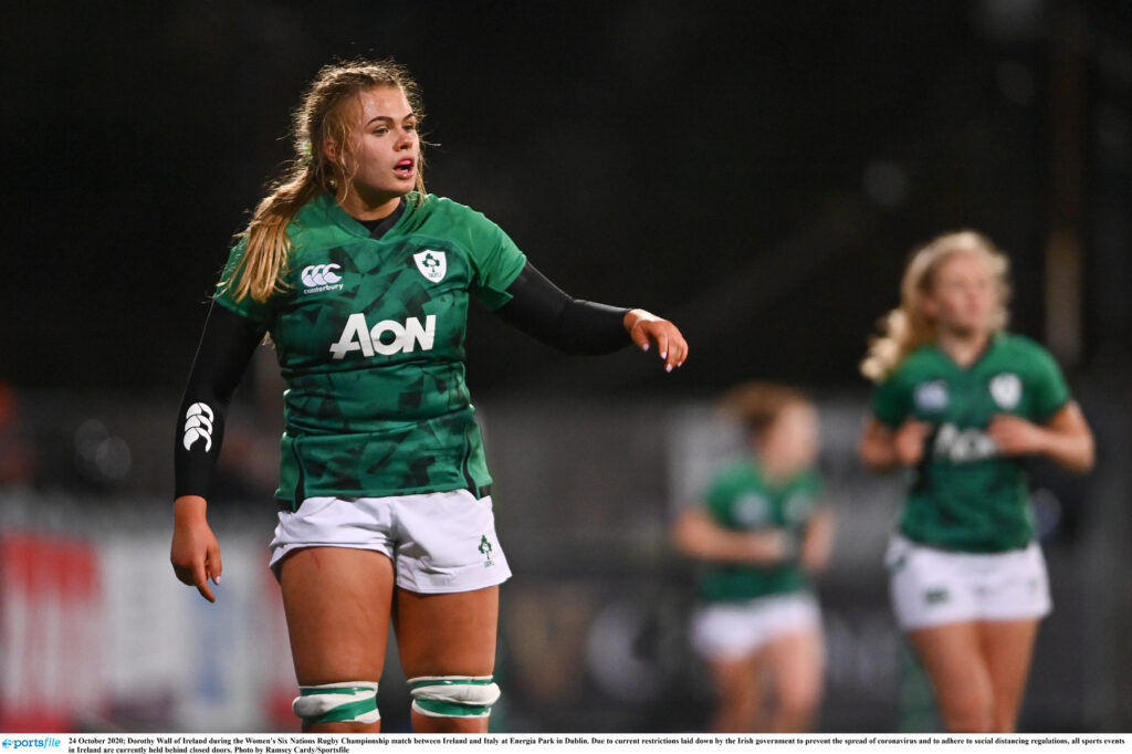 24 October 2020; Dorothy Wall of Ireland during the Women's Six Nations Rugby Championship match between Ireland and Italy at Energia Park in Dublin. Due to current restrictions laid down by the Irish government to prevent the spread of coronavirus and to adhere to social distancing regulations, all sports events in Ireland are currently held behind closed doors. Photo by Ramsey Cardy/Sportsfile