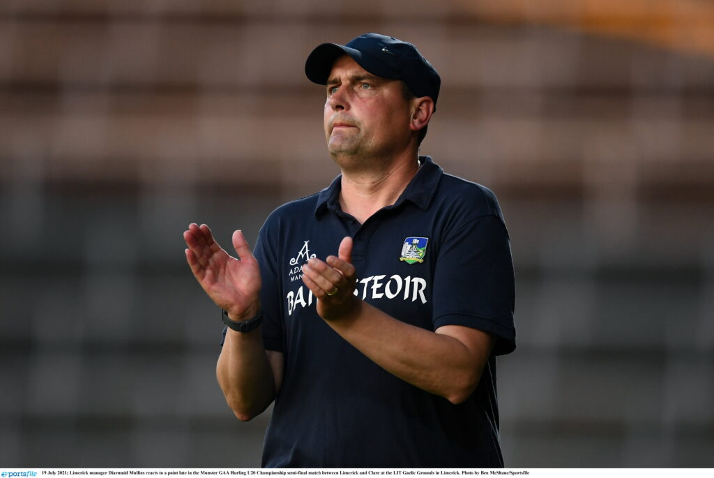 19 July 2021; Limerick manager Diarmuid Mullins reacts to a point late in the Munster GAA Hurling U20 Championship semi-final match between Limerick and Clare at the LIT Gaelic Grounds in Limerick. Photo by Ben McShane/Sportsfile