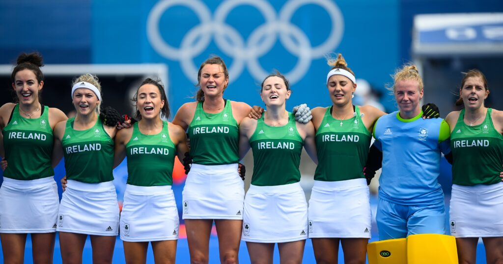 26 July 2021; Ireland players sing their national anthem before the women's pool A group stage match between Ireland and Netherlands at the Oi Hockey Stadium during the 2020 Tokyo Summer Olympic Games in Tokyo, Japan. Photo by Stephen McCarthy/Sportsfile