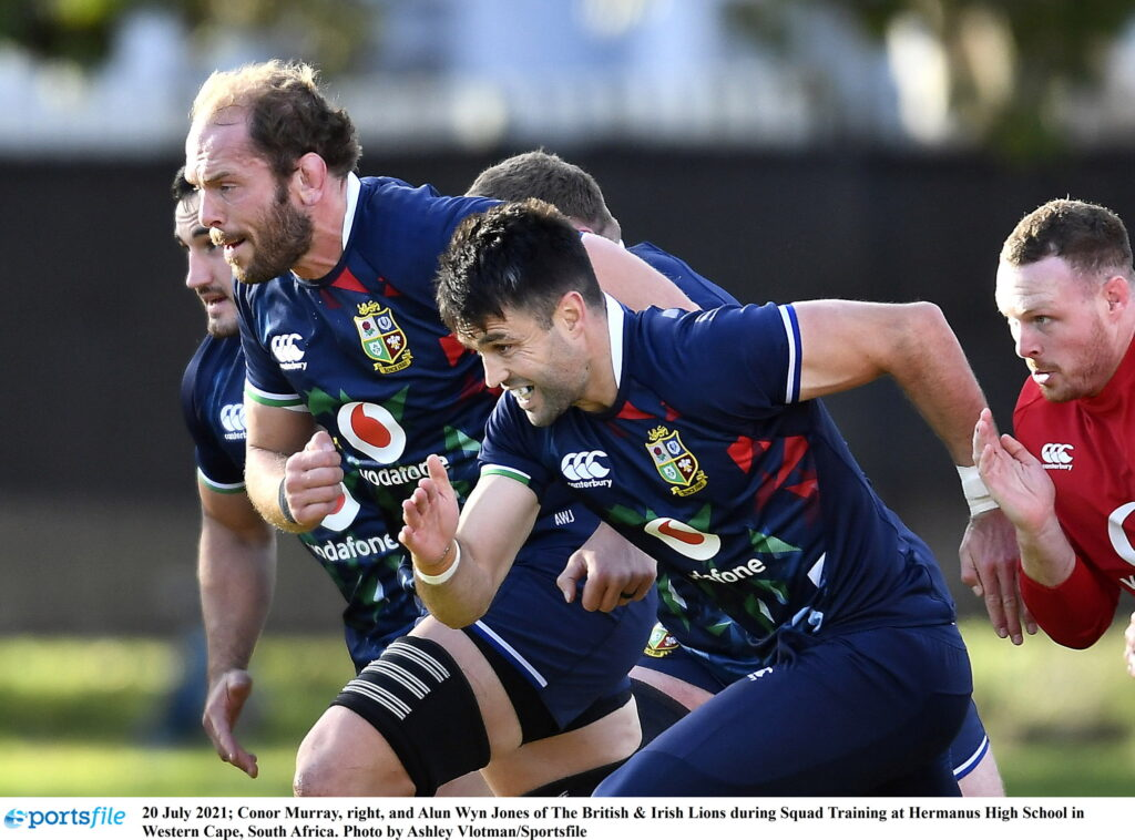 20 July 2021; Conor Murray, right, and Alun Wyn Jones of The British & Irish Lions during Squad Training at Hermanus High School in Western Cape, South Africa. Photo by Ashley Vlotman/Sportsfile
