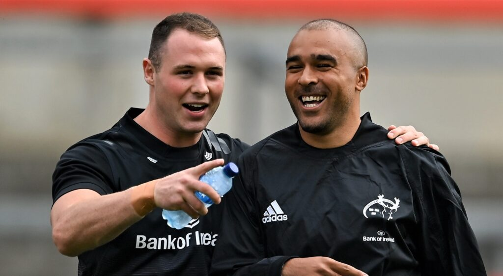 4 September 2021; Seán French, left, and Simon Zebo before a challenge match between Munster XV Red and Munster XV Grey at Thomond Park in Limerick. Photo by Brendan Moran/Sportsfile