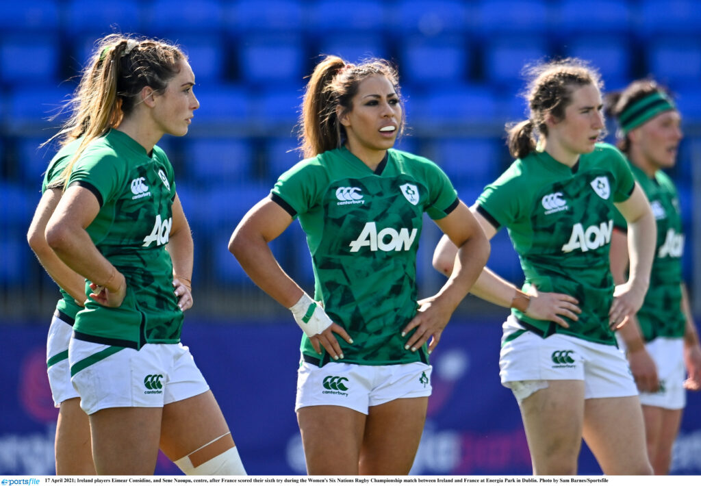 17 April 2021; Ireland players Eimear Considine, and Sene Naoupu, centre, after France scored their sixth try during the Women's Six Nations Rugby Championship match between Ireland and France at Energia Park in Dublin. Photo by Sam Barnes/Sportsfile