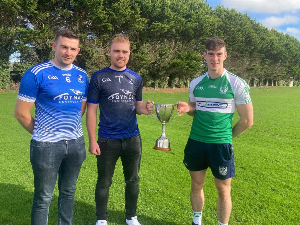 Croagh Kilfinny Joint Captains Tom McMahon and David Lynch with Effin Captain Jack Quaid