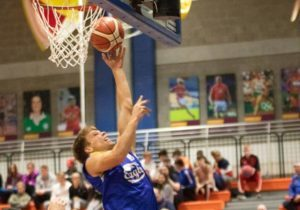Photo credit Aleksey Bodrov. Caption Cillian Fahy making a strong move to the basket  for UL Sport Eagles.