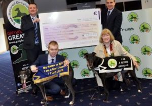 """Photo caption: """"Pictured: Patrick Flynn, Sales and Operations Manager at Shelbourne Park; Gerard Dollard, CEO of the Irish Greyhound Board; Josh Prenderville, IGB Communications Officer; Catriona Ni Duill, greyhound owner and re-homer."""""""