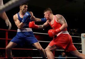 National Elite Championship Finals, National Stadium, Dublin 24/2/2018  Mens 90kg Final Kiril Afansev and Kevin Sheehy Mandatory Credit ©INPHO/Bryan Keane